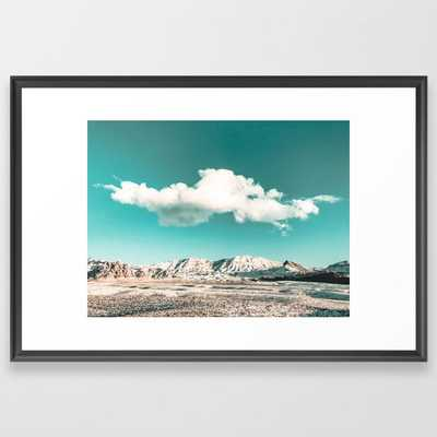 Vintage Desert Snow Cloud // Scenic Desert Landscape in Winter Fluffy Clouds Snow Mountains Cacti Framed Art Print by desert + palm - Society6