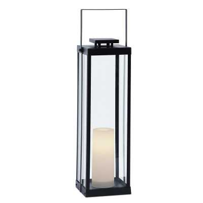 La Sal Black Battery Powered Integrated LED Outdoor Lantern with Electric Candle - Wayfair