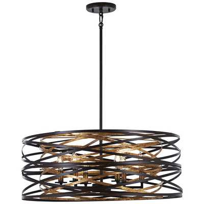"Vortic Flow 26"" Wide Dark Bronze Mosaic Gold 6-Light Pendant - Lamps Plus"