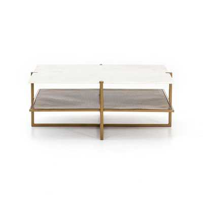 Olivia Square Coffee Table in Polished White Marble by BD Studio - Burke Decor