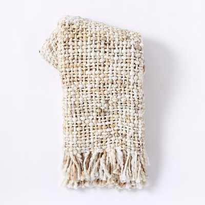 Marled Basketweave Throw, Stone White - West Elm