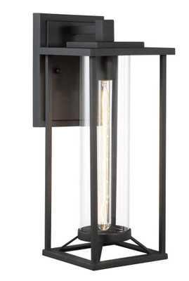 Trescott 1-Light Outdoor Black Wall Lantern Sconce - Home Depot