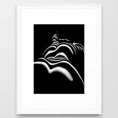 8903-SLG Sensual Nude Woman Back Shoulders Butt Erotic Curves Black & White Zebra Stripes Framed Art Print - Society6