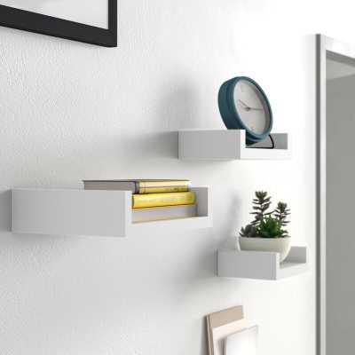 White Wickes 3 Piece Floating Shelf Set - Wayfair