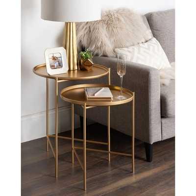 Petersburg Round Metal 2 Piece Nesting Tables; Gold - Wayfair