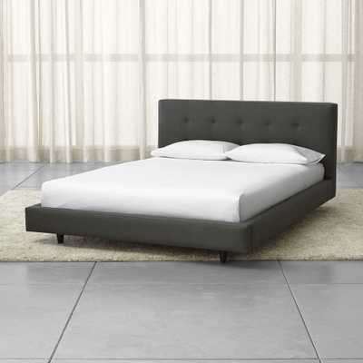 """Tate Queen Upholstered Bed 38"""" - Winslow, Charcoal - Leg:Deco - Crate and Barrel"""