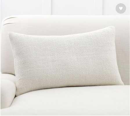 Faye Textured Lumbar Linen Pillow Cover, Ivory - Pottery Barn