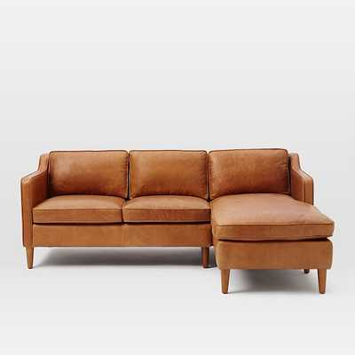 Hamilton Set 2: Left Arm Loveseat + Right Arm Chaise, Leather, Sienna - West Elm