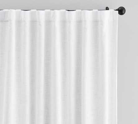 """Seaton Textured Cotton Rod Pocket Blackout Curtain, 100 x 108"""", White - Pottery Barn"""