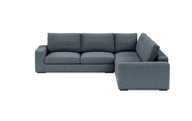 "AINSLEY Corner Sectional - 113"" - Rain Cross Weave -  Matte Black Ainsley Low L Leg - Standard Fill - 2 Cushion - Interior Define"