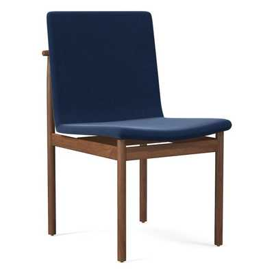 Framework Dining Chair, Performance Velvet, Ink Blue, Walnut - West Elm