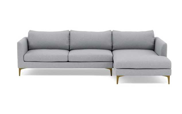OWENS Sectional Sofa with Right Chaise Gris Sloan Brass leg - Interior Define