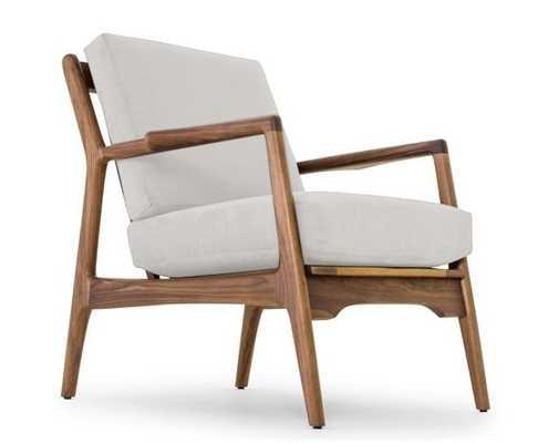 White Collins Mid Century Modern Chair - Tussah Snow - Walnut - Joybird