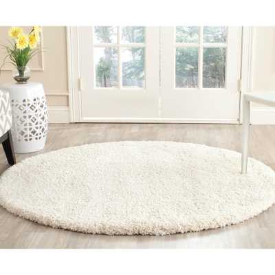 Milan Shag Ivory 5 ft. x 5 ft. Round Area Rug - Home Depot