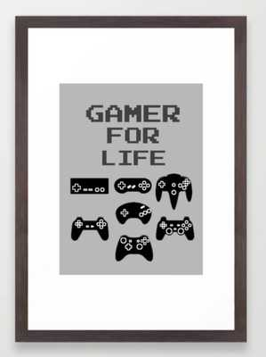 "Gamer For Life Small- 15"" x 21"" Conservation Walnut - Society6"