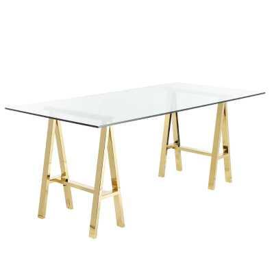 """30"""" H x 71"""" W x 36"""" D Brady Glass Desk - Wayfair"""