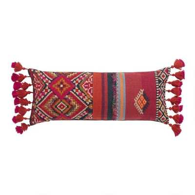 Oversized Red Southwest Harper Lumbar Pillow With Tassels - World Market/Cost Plus