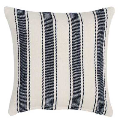 BLUE AWNING STRIPE WOVEN COTTON DECORATIVE PILLOW - Pine Cone Hill