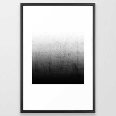 Black Ombre Concrete Texture Framed Art Print, 26x38, black vector frame - Society6