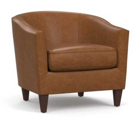 Harlow Leather Armchair without Nailheads, Polyester Wrapped Cushions, Signature Maple - Pottery Barn
