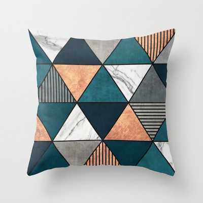 Copper Marble Concrete Triangles Throw Pillow - Society6