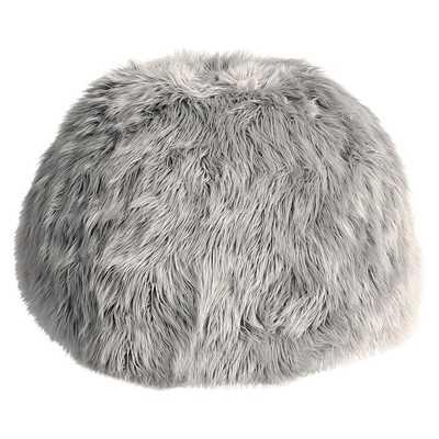 Himalayan Faux-Fur Gray Bean Bag Chair, Slipcover + Insert, Large - Pottery Barn Teen