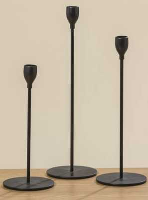 3 Piece Tulip Top Metal Candlestick Holder Set- Black (Back in stock Feb 2021) - Wayfair