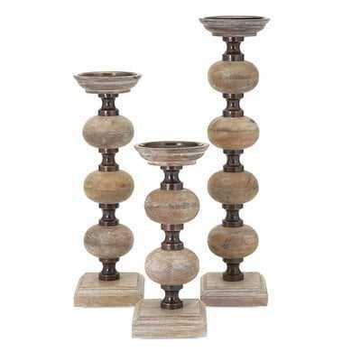 3 Piece Wood Candlestick Set - Wayfair