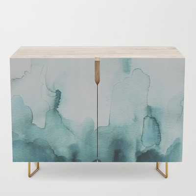 Soft teal abstract watercolor Credenza by Jen Merli - Society6