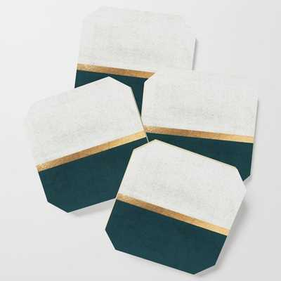 Deep Green, Gold and White Color Block Coaster - Society6