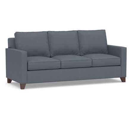 "Cameron Square Arm Upholstered Sofa 86"", Sunbrella® Performance Boss Herringbone, Indigo - Pottery Barn"