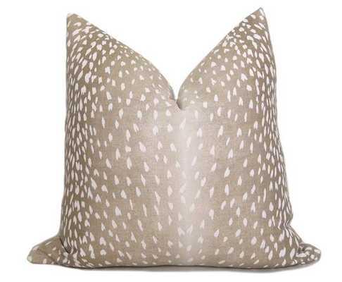 "Antelope Pillow Cover - Fawn White Linen, 24""x 24"", No Insert - Willa Skye"