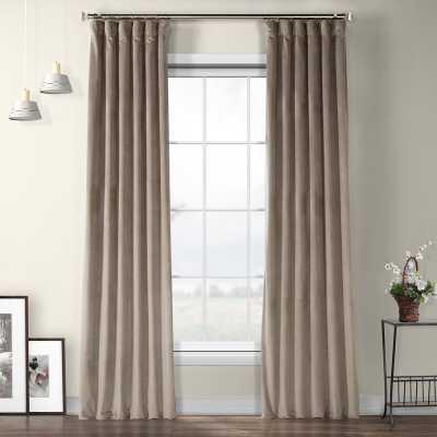"Livia Riverton Solid Heritage Plush Velvet Rod Pocket Single Curtain Panel, 96"" L - Gallery Taupe - Wayfair"