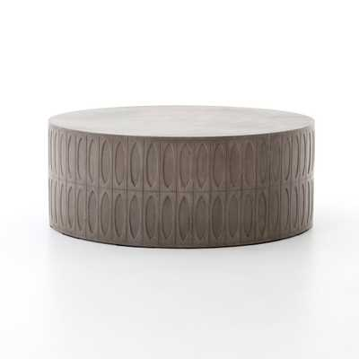 Colorado Drum Coffee Table in Dark Grey - Burke Decor