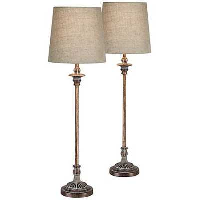 Bentley Weathered Brown Buffet Table Lamp Set of 2 - Lamps Plus