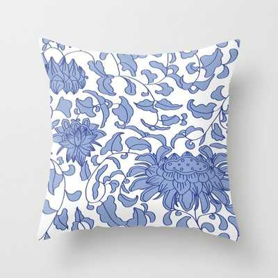 Chinoiserie Vines in Delft Blue + White Throw Pillow - Society6