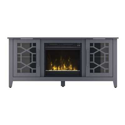 Jennings Tv Stand, Cool Gray with Fireplace - Birch Lane