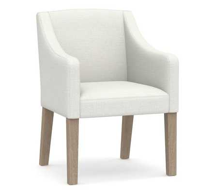 PB Classic Upholstered Slope Arm Chair with Seadrift Legs, Twill White - Pottery Barn