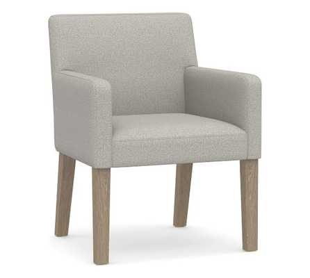 PB Classic Square Arm Upholstered Dining Arm Chair, Seadrift Legs , Performance Boucle Pebble - Pottery Barn
