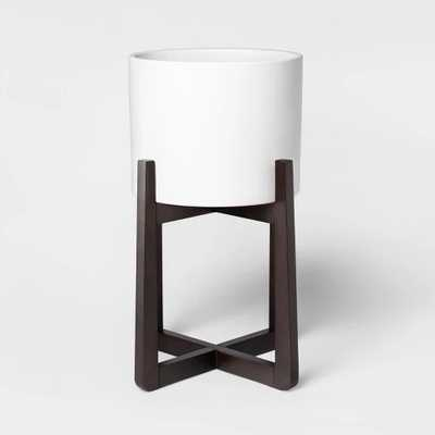 """21"""" x 14"""" Ceramic Planter With Stand White/Brown - Project 62 - Target"""