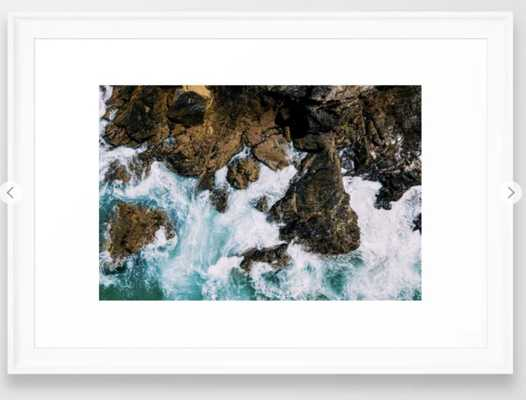 Ocean Waves Crushing On Rocky Landscape, Drone Photography, Aerial Landscape Photo, Ocean Wall Art Framed Art Print - Society6