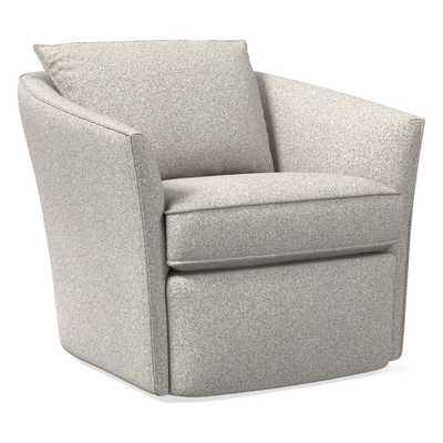Duffield Swivel Chair, Poly, Chenille Tweed, Irongate, Concealed Supports - West Elm