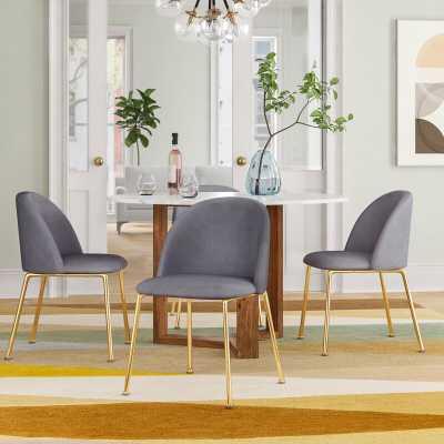 Gray Deeter Velvet Upholstered Side Chair (Set of 2) - Wayfair