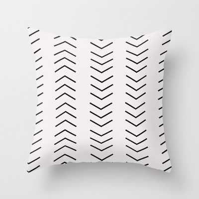 Mudcloth Pattern White Black Arrows Throw Pillow - Society6
