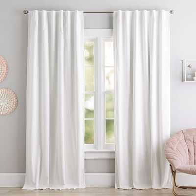 """Classic Sailcloth Blackout Curtain Panel, 96"""", White - Pottery Barn"""