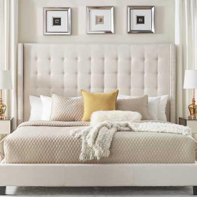 Virgil Upholstered Platform Bed, King, White - Birch Lane