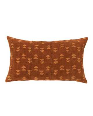 DOUBLE TRIANGLE LUMBAR MUD CLOTH PILLOW IN RUST - PillowPia
