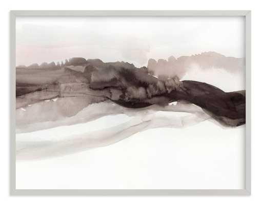 "Softly Layered - 54""x40"", light gray wood frame - Minted"