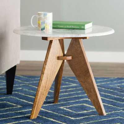 Koury Tall Marble and Wood End Table - Wayfair