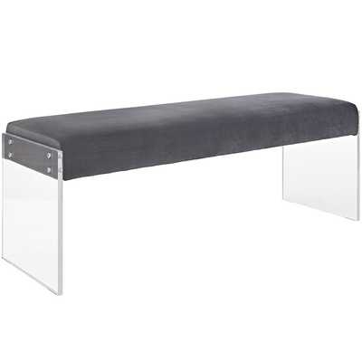 ROAM VELVET BENCH IN GRAY - Modway Furniture